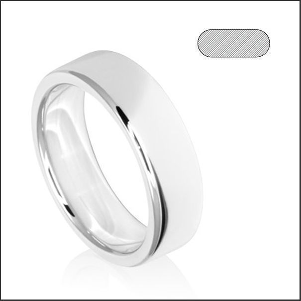 Kaanaanmaa 18ct white gold flat rounded edge 7mm band