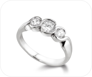 three stone diamond ring button