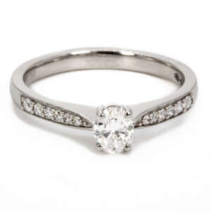 Platinum and Oval diamond ring