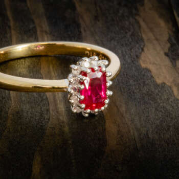 Ruby diamond cluster repaired