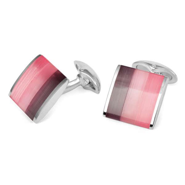 Pink strip cufflinks